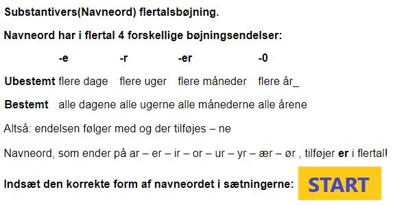Dansk grammatik: Navneord flertalsbøjning
