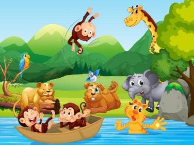 Sjovt Puslespil Med Dyr - Mest For Børn