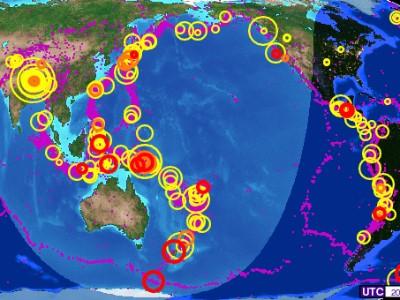 Interaktivt Jordskælvs Kort Med Jordens Jordskælv Lige Nu